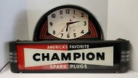 VINTAGE CHAMPION SPARK PLUGS LIGHTED SIGN WITH CLOCK - NEON PRODUCTS INC. ~WORKS
