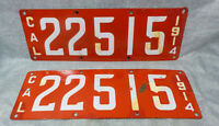1914 CA California First Year Porcelain License Plates Matched Pair