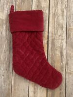 Pottery Barn Quilted Velvet Stocking Ruby Red Christmas Holiday Diamond Stitch