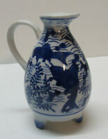 Koi Fish Small Pitcher Vase Seaweed Water Blue and White Porcelain Footed