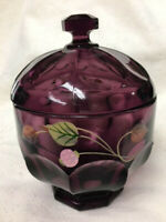 FENTON AMETHYST purple  w/flowers ~Candy dish with Lid ~