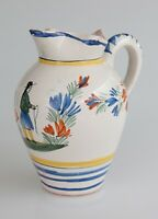 Large Antique Early 1900's French Faience Quimper Hand Painted Pitcher Jug 8.25
