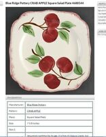Crab Apple by Blue Ridge Southern Pottery. Rare Square Salad Plate. 7 available