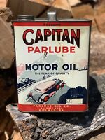 Vintage Oil Can CAPITAN Car Graphic 2 Gallon Advertising Gas