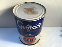 Vintage Gulf Oil Can FULL NOS Quart Metal gas rare Unopened tin handy Shell BP 4
