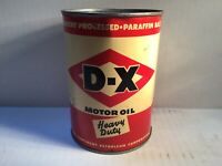 Vintage D-X Oil Can FULL NOS Quart Metal gas rare Unopened handy Shell GM Sun dx