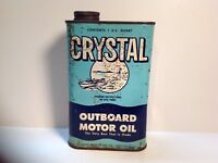 Vintage Crystal Outboard Rare Oil Can Quart NOS Metal gas rare sign tin handy GM