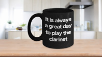 Clarinet Mug - Black Coffee Cup - Funny Gift for Musician, Clarinetist Orchestra