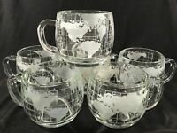 EIGHT Nescafe Nestle Around the Worlds Fair Globe Glass Mugs Cups