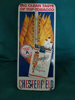 Vintage Chesterfield Cigarette Tin Advertising thermometer Collectable Mancave