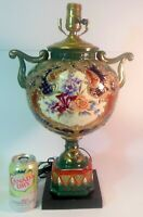 Exquisite LARGE Antique NIPPON URN Vase as LAMP Hand Ptd Flower BOUQUETS Gold