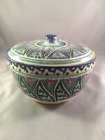 Handcraftes Majolica Style  Italian Pottery Bowl With Lid