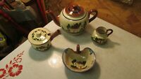Torquay Motto Ware Teapot Sugar Creamer Bowl Cottage 4 pcs