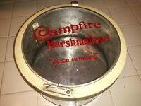 Vintage campfire marshmallows tin with glass lid sweet!