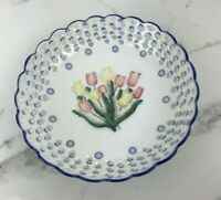 Royal Twickel Ter Steege Delft Delftware Candy Dish 3D Hand Painted Tulips White