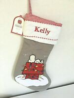 NWT Pottery Barn Kids Quilted Peanuts Snoopy Stocking-Monogrammed Kelly