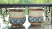 OP Blue Yellow Brown Hand Thrown Pottery Coffee Mugs Set of 2