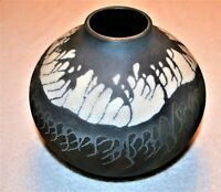 Vintage Gun Metal Pottery Studio Signed ON Bottom Snow Caps Vase Modern Art  Si