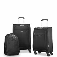 Samsonite Tenacity 3 Piece Luggage Set Black Blue 25quot; 21quot; Backpack Lu...