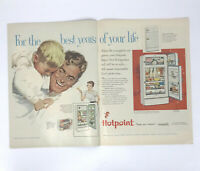 Hotpoint Refrigerator Magazine Print Ad Vintage 1954 Dad Son Appliances 2 Pages