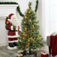 Christmas  Artificial Green Tree Xmas Decoration Decor Pre Lit 4 FT Clear Lights
