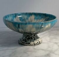 VINTAGE ART POTTERY Small Blue White Drip Glaze Pedestal Bowl Dish 4.5 Inches