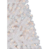 6.5 FT White Pre Lit Artificial Christmas Tree Xmas Decoration 300 Clear Lights