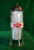 Coca Cola Straw Dispenser Holder Beveled Glass Jar w Chrome Dome Lid 1992