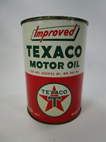 Vintage Improved texaco motor oil can 1 quart gas NICE!