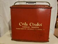 COLA COOLER METAL ICE CHEST Fiberglass Insulated Vintage POLORON Products Red
