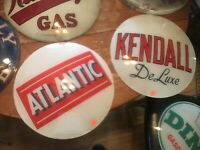 Vintage Atlantic Gas Pump Globe Lense Glass Top Sign Garage Wall Decor Oil
