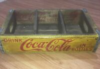 Vintage Divided Wooden Coca Cola Coke Logo Carrier Crate Advertising
