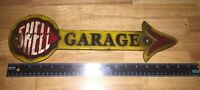 """Shell Oil Garage Cast Iron Sign 16"""" Solid Metal Patina Vintage Style Sinclair Vg"""