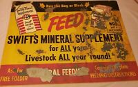 Vintage swift mineral sign feed farm cattle ranch cow swine pig
