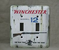 Winchester Model 12 Metal Double Light Switch Cover New Old Tin Sign Look