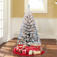 4 FT Artificial Christmas Tree Snow Pre Lit Xmas Green Flocked Pine Clear Lights