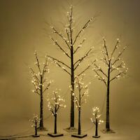 1.5 Ft Christmas Snow Tree Brown Birch with 18 LED Lights House Outdoor Festival
