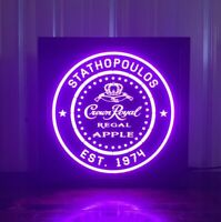 Crown Royal Apple Whisky LED Sign Personalized, Home bar pub Sign, Lighted Sign