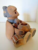 Vintage Estate Signed American Indian Story Teller Old Clay Pottery Sculpture