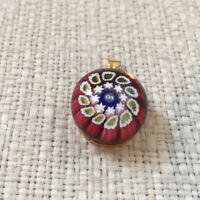 Rare St Louis Millefiori Paperweight pendant for necklace gold red Miniature