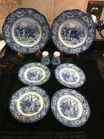 LIBERTY BLUE HISTORIC COLONIAL SCENES 8 PC LOT PLATES SALT AND PEPPER