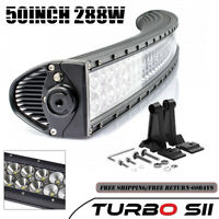 50inch 288W Curved Led Light Bar Spot Flood Combo For ATV Offroad SUV Boat CAR