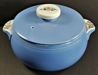 Vintage Hall Pottery 1259 Blue Covered Ceramic Casserole Rose Parade MINT
