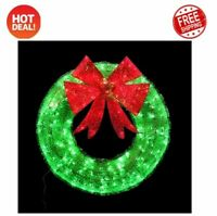 Outdoor Christmas Holiday 36 in. Green Tinsel Wreath with Twinkling Lights NEW