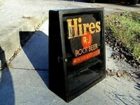 Early Rare Hire's Root Beer Soda Store Display Cabinet Sign Antique Advertising