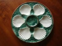 LONGCHAMP French Faience Vintage Oyster Plate 9.5