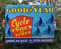 VINTAGE LARGE 1953 DATED GOODYEAR TYRES & TUBES PORCELAIN SIGN ENGLAND RARE