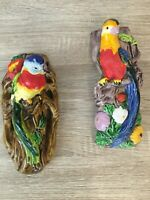 Pair 2 Vintage WALL POCKET Majolica Exotic bird parrot macaw hand painted japan