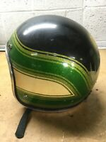 Vintage Arctic Cat Snowmobile Helmet Airbrushed Scene Green Black Gold