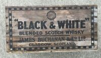OLD VINTAGE WOOD-WOODEN BLACK & WHITE BLENDED SCOTCH WHISKY JAMES BUCHANAN CRATE